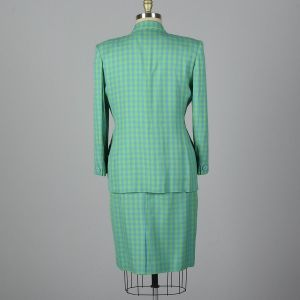 XL 1990s Christian Dior Skirt Suit Deadstock Blue Green Gingham Check Separates  - Fashionconstellate.com