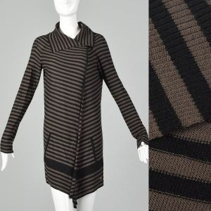 XS 1990s Sonia Rykiel Sweater Black Brown Asymmetrical Lightweight Cardigan
