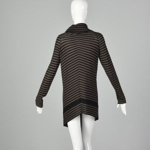 XS 1990s Sonia Rykiel Sweater Black Brown Asymmetrical Lightweight Cardigan  - Fashionconstellate.com