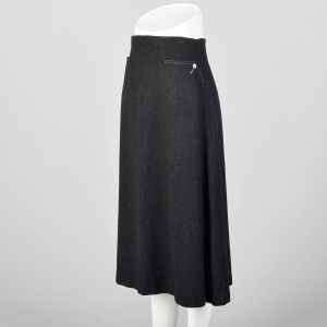 Small 1960s Mod Gray Wool A Line Midi Skirt with Topstitch and Pockets - Fashionconstellate.com