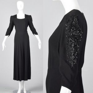 Large 1940s Black Crepe Gown Sequin Sleeves Formal Evening Dress Long Maxi Skirt