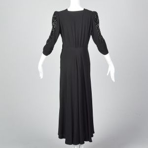 Large 1940s Black Crepe Gown Sequin Sleeves Formal Evening Dress Long Maxi Skirt - Fashionconstellate.com