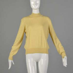 Large 1980s Kasha de Rodier Lightweight Sweater Cream Mockneck Turtleneck Long Sleeve