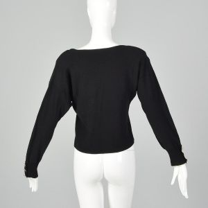 Large 1980s Sonia Rykiel Black Sweater Designer Lightweight Decorative Buttons  - Fashionconstellate.com