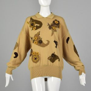 Large 1980s Escada Tan Sweater Cashmere Wool Floral Paisley Collared Fall Oversized