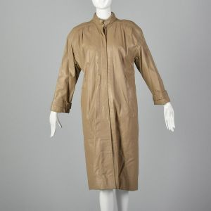 Medium 1980s Fendi Leather Trench Coat Light Tan Quilted Lining High Neck Outerwear - Fashionconstellate.com