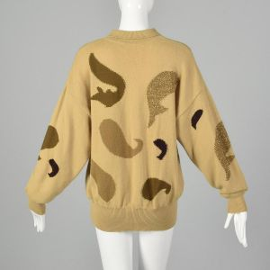 Large 1980s Escada Tan Sweater Cashmere Wool Floral Paisley Collared Fall Oversized  - Fashionconstellate.com