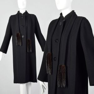 Small 1980s Pauline Trigere Black Wool Winter Coat with Removable Mink Tail Scarf