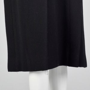 Small 1980s Pauline Trigere Black Wool Winter Coat with Removable Mink Tail Scarf - Fashionconstellate.com