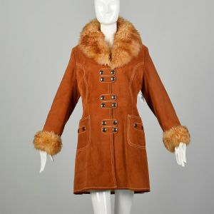 Small 1970s Boho Suede Shearling Coat Sherpa Leather Outerwear