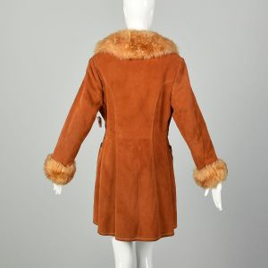 Small 1970s Boho Suede Shearling Coat Sherpa Leather Outerwear - Fashionconstellate.com