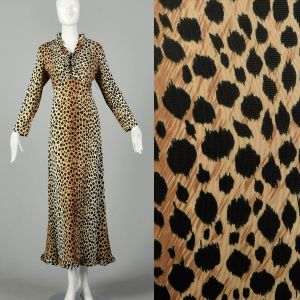 Medium 1970s Leopard Print Maxi Dress Long Sleeves