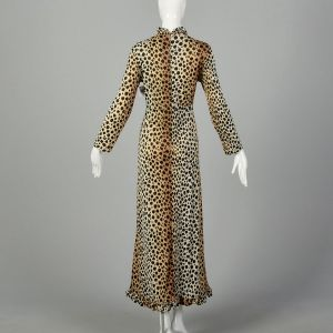 Medium 1970s Leopard Print Maxi Dress Long Sleeves - Fashionconstellate.com