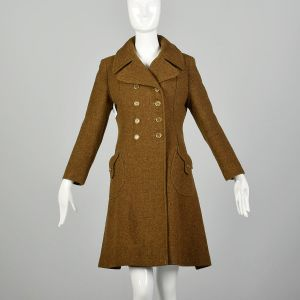 Small 1970s Brown Wool Winter Coat Mod Green Tweed Military Inspired