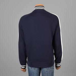 Large Mens 1990s Track Jacket Navy Blue Ralph Lauren Polo Zip Front White Striped Ribbed Knit Trim - Fashionconstellate.com