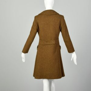 Small 1970s Brown Wool Winter Coat Mod Green Tweed Military Inspired - Fashionconstellate.com