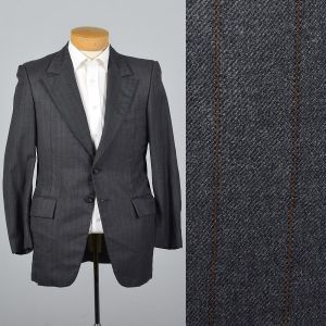 39S Medium1970s Mens Blazer Two Button Jacket Gray Striped Wool Jacket Wide Lapels