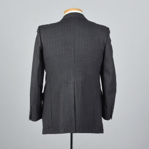 39S Medium1970s Mens Blazer Two Button Jacket Gray Striped Wool Jacket Wide Lapels - Fashionconstellate.com