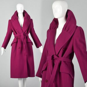 Medium 1980s Valentino Miss V Trench Coat Portrait Collar Hot Pink Wool Double Breasted