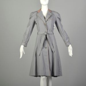 XS 1970s Trench Coat Fitted Grey Puff Sleeve Pleated Skirt Belted