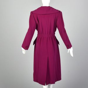 Medium 1980s Valentino Miss V Trench Coat Portrait Collar Hot Pink Wool Double Breasted  - Fashionconstellate.com