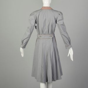 XS 1970s Trench Coat Fitted Grey Puff Sleeve Pleated Skirt Belted - Fashionconstellate.com
