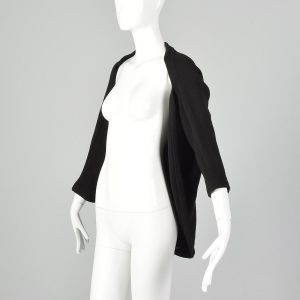 Small 1990s Yohji Yamamoto Black Sweater Designer Avant Garde Minimalist Open Wool Cardigan  - Fashionconstellate.com