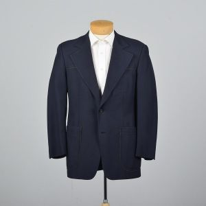 Medium 40R 1970s Mens Navy Blue Blazer Single Vent Wide Lapels Patch Pockets Jacket
