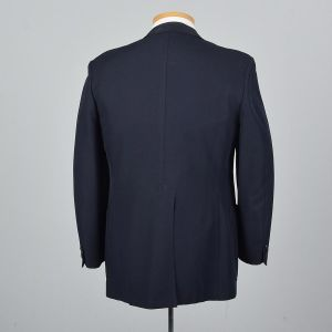 Medium 40R 1970s Mens Navy Blue Blazer Single Vent Wide Lapels Patch Pockets Jacket  - Fashionconstellate.com