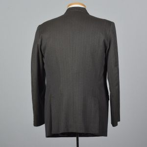 42L Large 1980s Mens Blazert Double Breasted Suit Jacket Gray Blue Pin Stripes Double Vent Sportcoat - Fashionconstellate.com