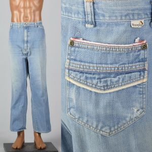 XL 1970s Mens Wrangler Jeans Light Denim Piping Trim Straight Leg Distressed Fade