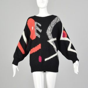 Medium 1990s Adolfo Sweater Black Geometric Orange Hot Pink Print Oversized Wool Tunic Top