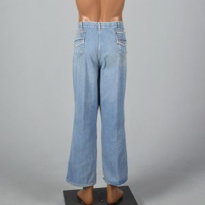 XL 1970s Mens Wrangler Jeans Light Denim Piping Trim Straight Leg Distressed Fade  - Fashionconstellate.com