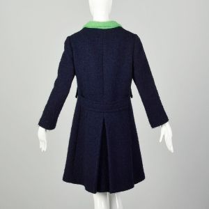 Small 1960s Wool Coat Mod Collar Navy Blue Green Buttons - Fashionconstellate.com