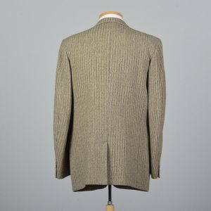 XL 44L 1950s Mens Blazer Tan Tweed Striped Single Vent Convertible Pockets Jacket - Fashionconstellate.com