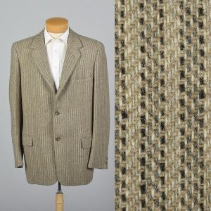 XL 44L 1950s Mens Blazer Tan Tweed Striped Single Vent Convertible Pockets Jacket