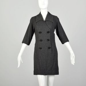 Medium 1960s Dress Gray Wool Double Breasted Casual