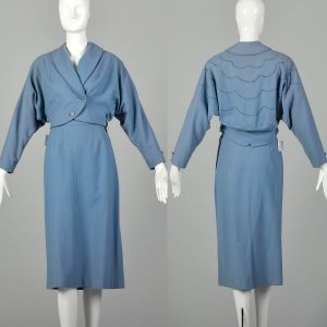 Small 1950s Blue Skirt Suit Dolman Sleeve Theatre Costume Damaged As Is Set