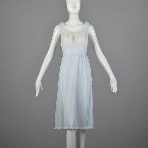 Small 1950s Blue Nightgown Sleeveless Lace Bust Lace Trim Vintage Sleepwear Loungewear Lingerie