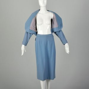 Small 1950s Blue Skirt Suit Dolman Sleeve Theatre Costume Damaged As Is Set  - Fashionconstellate.com