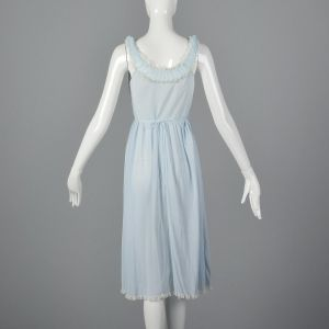 Small 1950s Blue Nightgown Sleeveless Lace Bust Lace Trim Vintage Sleepwear Loungewear Lingerie - Fashionconstellate.com