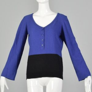 Medium 1990s Sonia Rykiel Blue Black Sweater Color Blocked Bell Sleeves Ribbed Knit V Neck