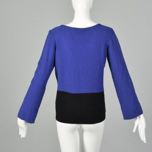Medium 1990s Sonia Rykiel Blue Black Sweater Color Blocked Bell Sleeves Ribbed Knit V Neck - Fashionconstellate.com