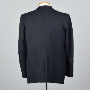 XL 44L 1960s Mens Blue Jacket Single Vent Slim Lapel Convertible Flap Pockets Blazer  - Fashionconstellate.com
