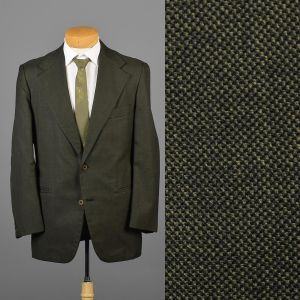42L Large 1970s Mens Jacket Blazer Sportcoat Two Button Green Wide Lapel Two Button Jacket