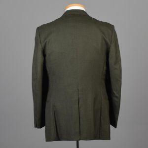 42L Large 1970s Mens Jacket Blazer Sportcoat Two Button Green Wide Lapel Two Button Jacket  - Fashionconstellate.com
