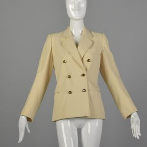 Small 1960s Yves Saint Laurent Rive Gauche Cream Jacket Wool Double Breasted Blazer Belted Back