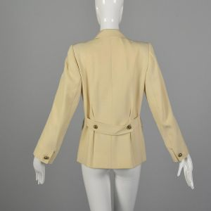 Small 1960s Yves Saint Laurent Rive Gauche Cream Jacket Wool Double Breasted Blazer Belted Back  - Fashionconstellate.com