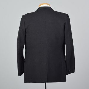 XL 43R 1960s Mens Heavy Wool Jacket Black Single Vent Convertible Flap Pockets Blazer  - Fashionconstellate.com