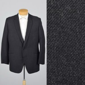 XL 43R 1960s Mens Heavy Wool Jacket Black Single Vent Convertible Flap Pockets Blazer
